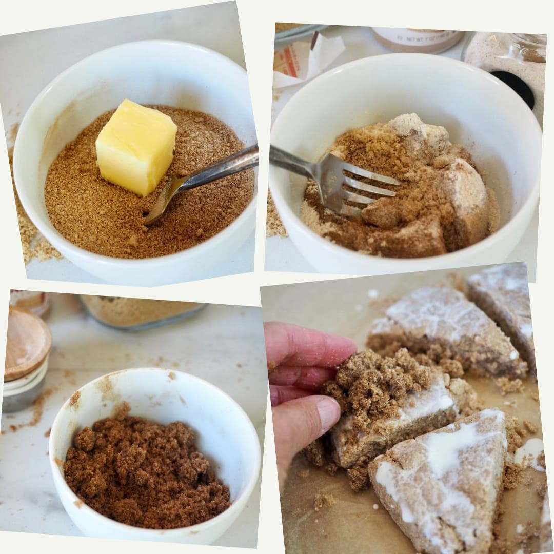 process shots making crumb topping