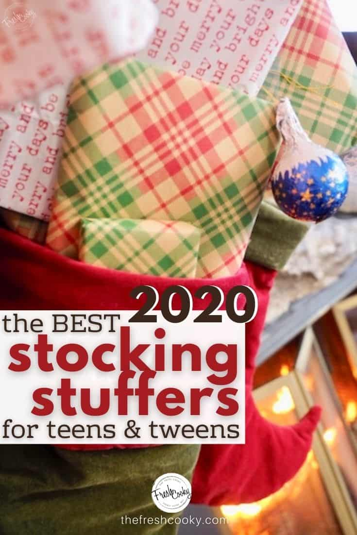 the best stocking stuffers for teens and tweens for 2020 pinterest image with stockings hung behind stuffed with wrapped gifts.