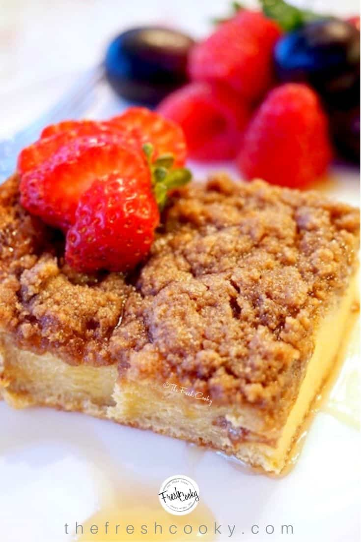 A slice of cinnamon crumb overnight french toast