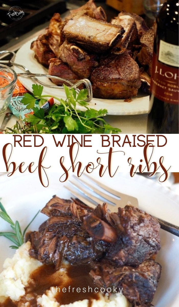 Real food recipe! Easy Slow Cooked Red Wine Braised Beef Short ribs are tender and fall off the bone juicy! Think Valentine's Day, New Years Eve, Christmas Dinner, even Easter! Recipe via @thefreshcooky | #braisedshortribs #beef #easyrecipes #specialoccasion #tender #slowcooked #redwine #dutchoven via @thefreshcooky