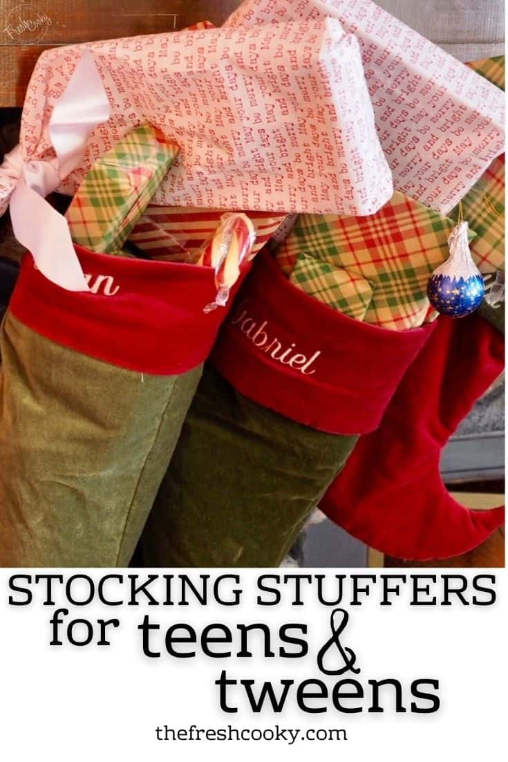 Pinterest image for stocking stuffers for tweens and teens with image of velvet stockings stuffed with wrapped gifts.