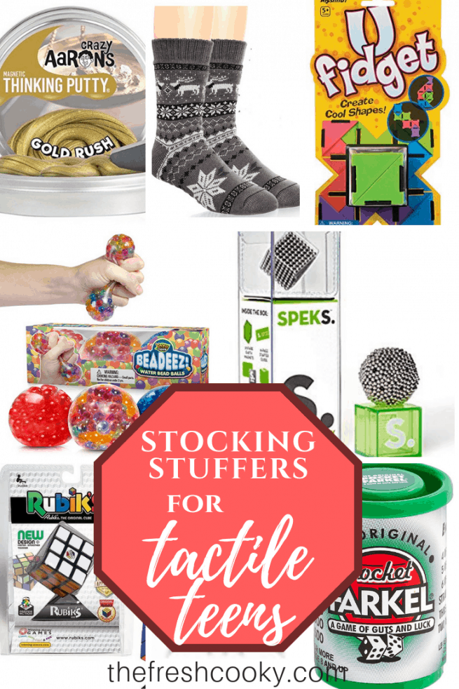 The BEST Stocking Stuffer Ideas for Teen Boys (and girls too)! Economical, tactile and sensory stimulating or calming stocking stuffer gift ideas for teens this holiday. #thefreshcooky #stockingstuffers #teens #teenboys #teengirls #sensory #tactile #stockings #holidaygiftideas #christmasgiftideas #ideas #stockingstufferideas