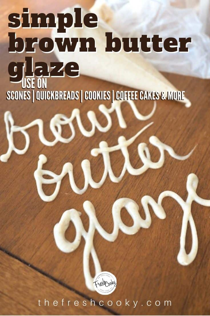 Golden and nutty, browned butter glaze is perfect for scones, cookies, quickbreads and more. The richness of browned butter mingles with the powdered sugar for a match made in heaven. Recipe on thefreshcooky.com | #brownbutter #glaze #vanillaglaze #cookieglaze #easyglaze #howtobrownbutter via @thefreshcooky
