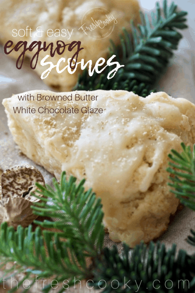 Eggnog Scones with browned butter white chocolate glaze | www.thefreshcooky.com