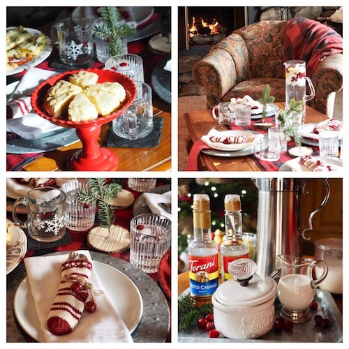 4 images of a tablesetting for a Christmas tea. Egg nog scones in first image. Table settings in second and third images with cutlery in mini knit stockings and finally a tray with coffee, cream, sugar bowl and coffee syrups.