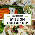 Pin for Million Dollar Dip with top image of three yummy cheese dips with veggies and crackers, bottom image a close up of the jarlsberg cheese dip.