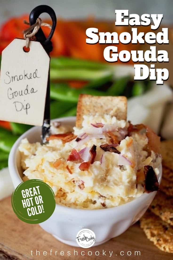 Smoked Gouda Cheese Dip packs a flavorful punch of smokey and salty flavors. Mixed with cream cheese, creamy real mayonnaise, toasted garlic, minced red onions, and real bacon bits. Delicious on crackers or veggies, hot or cold. See post for lots of tips, variations and ideas! Recipe via @thefreshcooky #cheesedips #smokedgoudadip #recipe  #appetizer #5ingredient #partydip #gamedayrecipes #superbowlrecipes #keto #lowcarb #glutenfree via @thefreshcooky