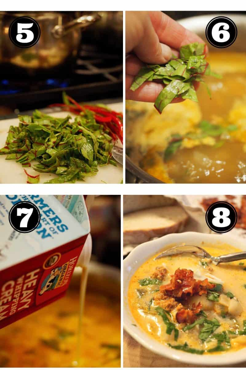 Process shots for zuppa toscana. 5. cutting swiss chard 6. adding chard tto soup 7. pouring in cream 8. bowl of finished soup
