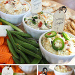 Long pin for the best homemade cheese dips, with three images, top image of three different cheese dips on a veggie tray, bottom left image of garlic gruyere dip, & smoked gouda cheese dip.