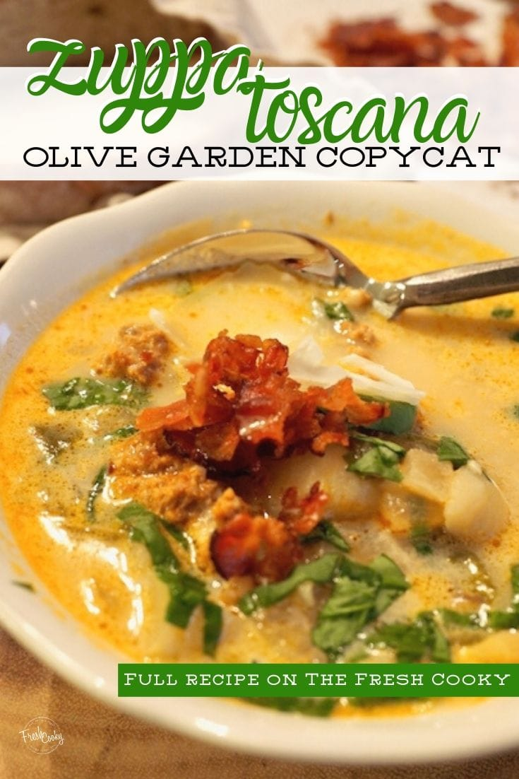 Pinterest image for Zuppa Toscana with soup in a bowl with a rustic spoon.