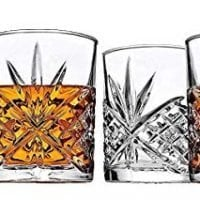 James Scott Double Old Fashioned Crystal Drinking Glasses Set, Irish Cut Design - Set of 4-11 Oz