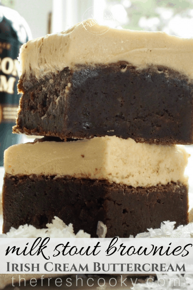 Pinterest image with stacked brownies topped with a thick layer of Irish Cream Buttercream.