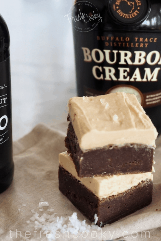 Fudgy Brownies with bourbon cream buttercream | www.thefreshcooky.com