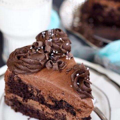 slice of rich chocolate zucchini cake | www.thefreshcooky.com