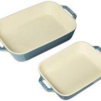 Staub Ceramic 2-pc Rectangular Baking Dish Set - Rustic Turquoise