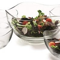 Clear Glass Wavy Salad Bowl, Mixing Bowl