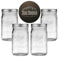 Ball Mason Jars Wide Mouth 32 oz Bundle with Non Slip Jar Opener- Set of 4 Quart Size Mason Jars - Canning Glass Jars with Lids