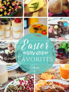 A multi image collage of all the best Easter favorite recipes with items for sides, salads, veggies, potatoes, breakfast, brunch and dinner.