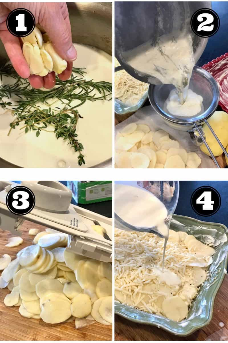 Process shots for gratin potatoes 1. hand with garlic cloves placing into cream mixture with fresh rosemary. 2. Straining garlic and herbs out of cream mixture. 3. mandolin slicing potatoes thin, 4. layering the cream mixture with cheese and potatoes.