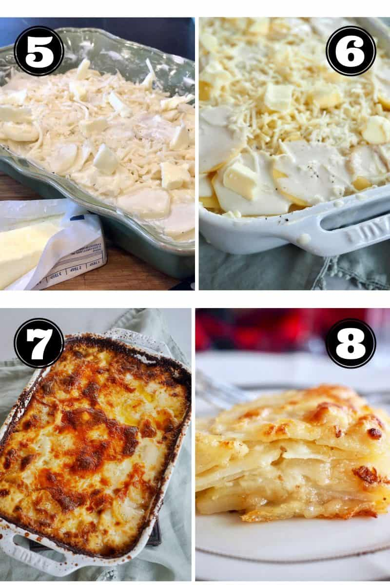 Process shots for Gratin potatoes 5. Adding a few slices of butter to potatoes. 6. ready for the oven. 7. post baking a golden brown. 8. a slice of layered, creamy gratin potatoes