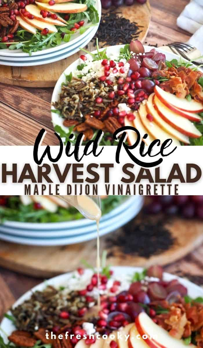 Image of wild rice fall salad with dressing being poured over the salad filled with wild rice, apples, grapes, bacon and goat cheese.