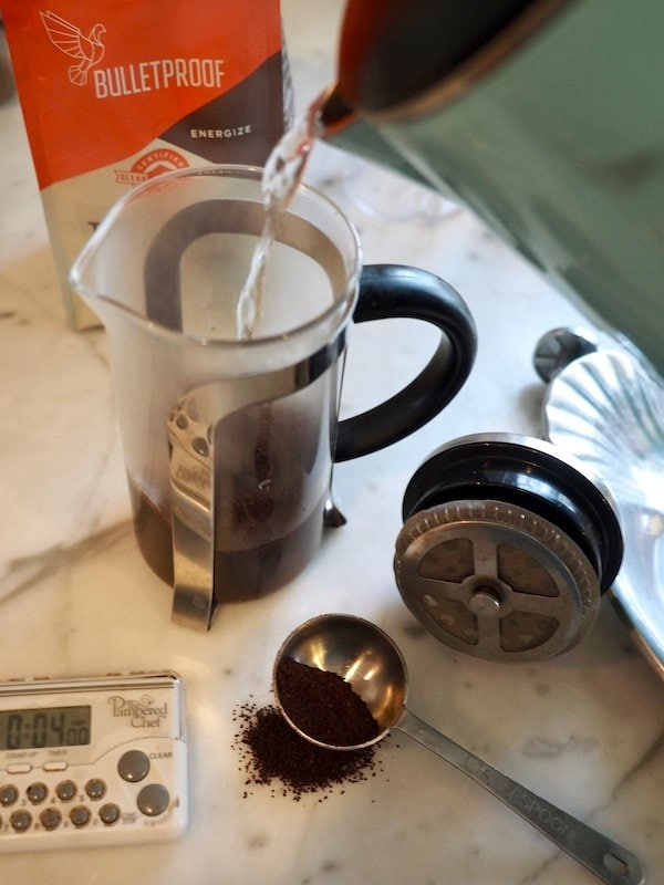 Hot water into French Press for Bulletproof Coffee | www.thefreshcooky.com