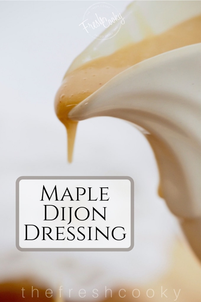 This Maple Dijon Vinaigrette is a simple, delicious, creamy dressing, full of great flavors and whips up in minutes. While it has a creamy appearance, there is no dairy in the recipe. Recipe www.thefreshcooky.com | #saladdressings #vinaigrette #easy #glutenfree #vegan #vegetarian #nondairy #dressing #maple #dijon #easter #spring via @thefreshcooky