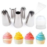 Pridebit Cupcake/Cake Decorating Tips [5 Extra Large] [4 Classic Tips+1 Ruffle Tip]