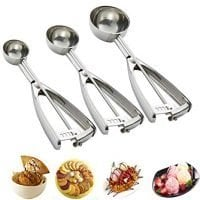 Cookie Scoop Set, 3 PCS Ice Cream Scoop with Trigger, 18/8 Stainless