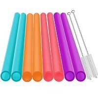 """[Extra Wide ] Reusable Smoothie Straws - Great for Bubble & Boba Tea, Milkshakes - 10.25"""" Long, Jumbo/Large Plastic Straws with Cleaning Brushes - 10 Pieces - Eco Friendly"""