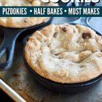 Pinterest image for mini skillet cookies half bakes.