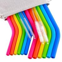 "Reusable Straws 6Pcs 10"" REGULAR SIZE Silicone Straws+ 6Pcs 10"" Medium Silicone Straws for 30&20OZ Yeti/Ozark/Rtic Tumblers+4 Brushes+ 1 Storage Pouch"