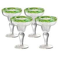 Artland Mingle Margarita Glasses (Set of 4), Green Rim