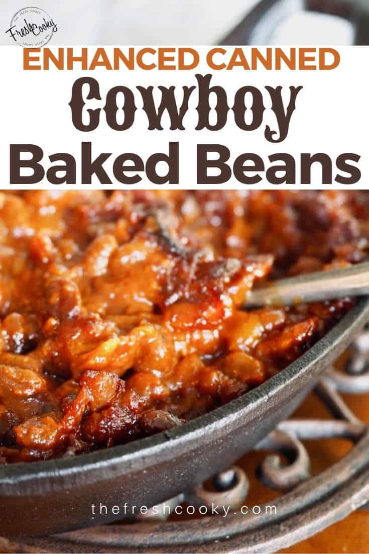 BEST EVER Cowboy Baked Beans are the perfect hearty side dish for any potluck, BBQ, Father's Day, Picnic or whenever you love beans! #thefreshcooky #easyrecipes #summerrecipes #oldfashioned #chuckwagon #bacon #campingrecipes #castironcooking #southernstyle #glutenfree via @thefreshcooky