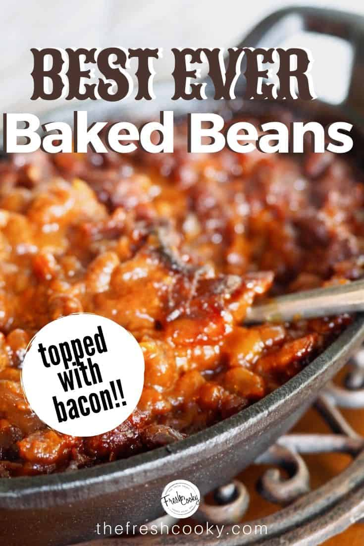 BEST EVER Cowboy Baked Beans are the perfect hearty side dish for any potluck, BBQ, Father's Day, 4th of July, Labor day or Picnic or whenever you want beans! Recipe via @thefreshcooky #easyrecipes #summerrecipes #oldfashioned #chuckwagon #bacon #campingrecipes #castironcooking #southernstyle #glutenfree #canned via @thefreshcooky