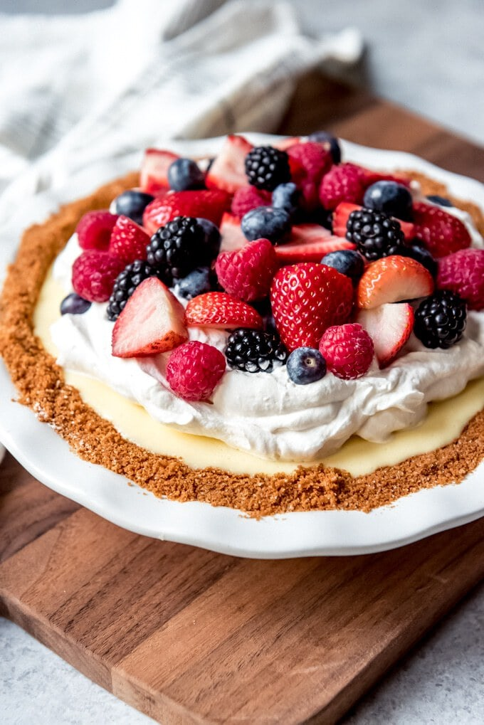 Red, White, and Blueberry Cream Pie