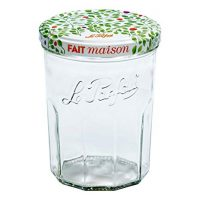 6 Le Parfait Jam Jars - Faceted French Glass Jelly Jars - Preserve, Store, Serve, Décor (6, 385ml - 13oz - Berry)