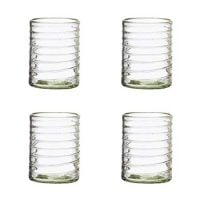 Clara Collection Double Old Fashioned Drinking Glass, Mexican Artisan Set of 4, 12 Ounces