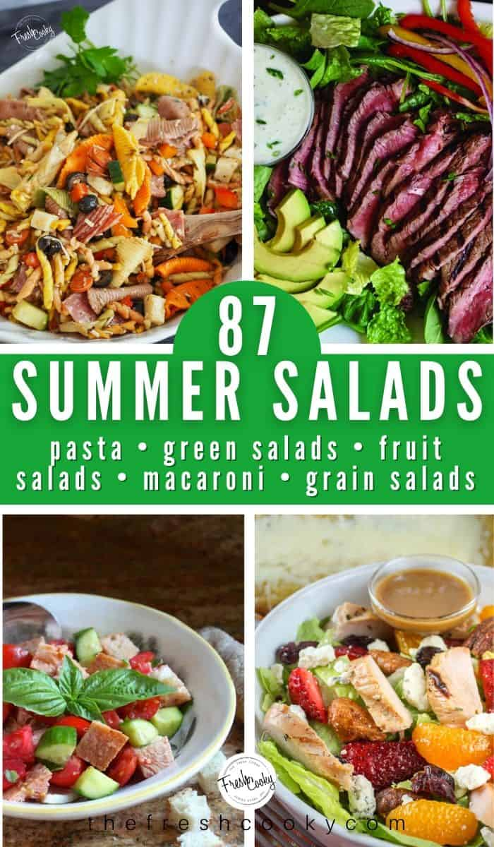 The BEST SUMMER SALAD RECIPES from green salads, fruit salads, pasta salads, grain and grain free salads, macaroni salads -- all in one place! Recipes via @thefreshcooky | #salad #saladrecipes #saladdressing #saladideas #summerrecipes #fruitsalad #pasta #pastasalad #pastarecipes #potluck #sidedishrecipes #4thofjuly #laborday #summer #glutenfree #paleo via @thefreshcooky