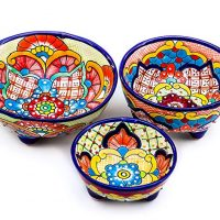 Unique Hand Painted Talavera Pottery Molcajete Chip and Dip