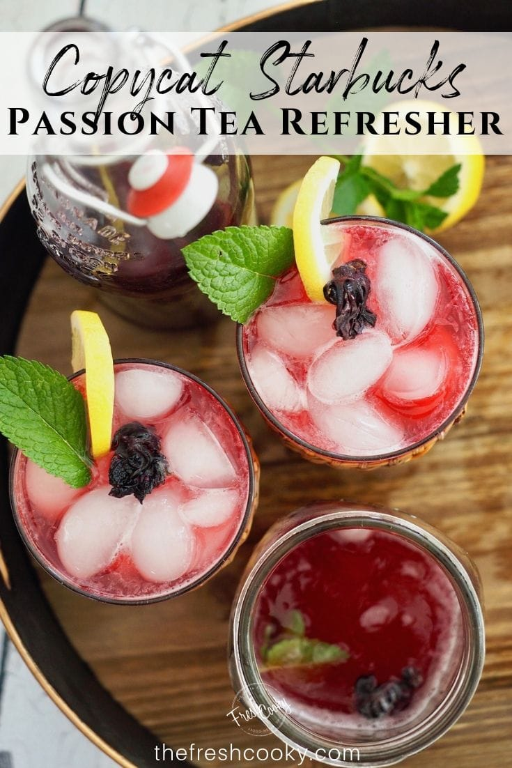 Copycat Starbucks Passion Tea Lemonade Recipe- A refreshing drink, that is low calorie, easy and will save you $$$ by making at home. Recipe on thefreshcooky.com   #passiontea #tazo #copycat #passiontearecipes #benefits #concentrate #hibiscus via @thefreshcooky