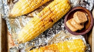 Grilled Corn in Foil with BBQ Compound Butter
