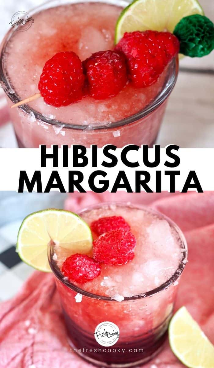A healthy hibiscus margarita! Just 4 ingredients to a beautiful, flavorful tropical drink! Cocktail or Mocktail! Recipe on www.thefreshcooky.com | #hibiscus #summerdrinks #floralcocktail #margarita #craftcocktail #cincodemayo #drinks #mocktail via @thefreshcooky