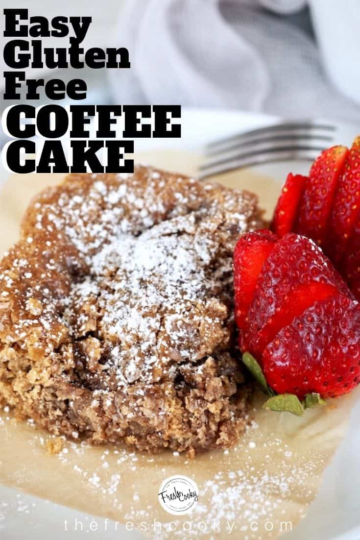 Easiest Coffee Cake Ever! The crumb topping is made from the batter, use any combination of flours, replace egg and liquids with your choice, you seriously cannot mess up this cake! Make egg free, dairy free and gluten free. I guess that would make this vegan coffee cake! Recipe on thefreshcooky.com | #coffeecake #glutenfree #glutenfreerecipes #easyrecipes via @thefreshcooky