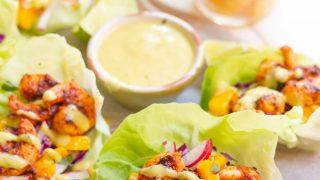 Chipotle Shrimp Lettuce Wraps with Creamy Mango Cilantro Sauce