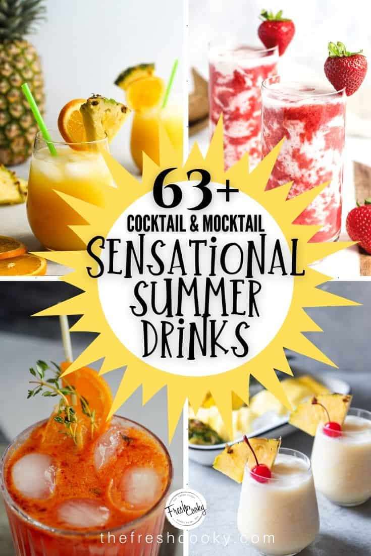 Don't let the heat of summer get you down! We've rounded up 63 Sensational Summer Sips to beat the heat. Drink recipes that everyone in the family will love! #cocktail #mocktail #alcoholic #nonalcoholic #easy #forkids #healthy #foracrowd #fun #craft via @thefreshcooky
