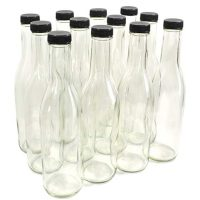 Clear Glass Woozy Bottles, 12 Oz - Case of 12
