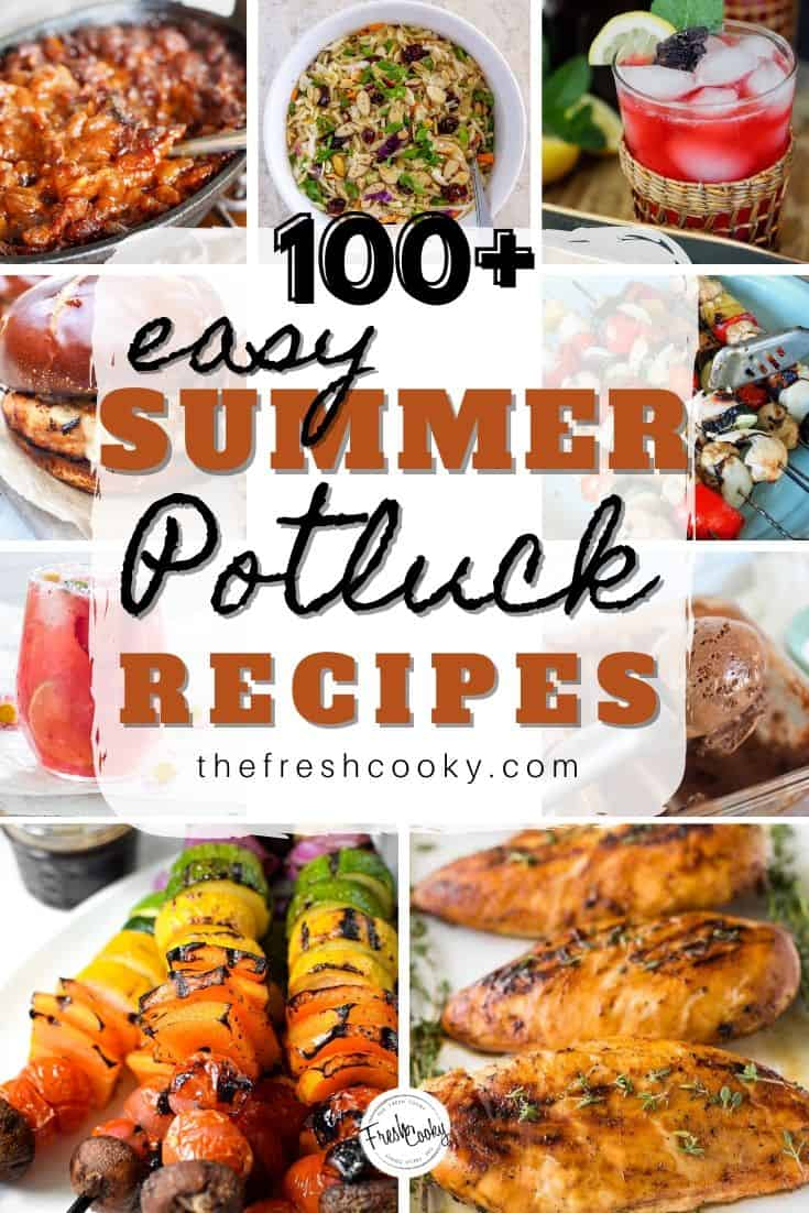 Summer Picnics and Potlucks are my favorite! I'm sharing 90 of my favorite Summer Potluck Recipes for your next summer gathering! From cocktails, mocktails, dips, appetizers, grilled recipes, side dishes and of course desserts! I've got you covered with all sorts of delicious tried and true potluck recipes! Most are make-ahead, many are Vegan, low carb, and Keto, but all are delicious! On thefreshcooky.com #grilling #summer #potluckrecipes #nobake #healthyrecipes via @thefreshcooky