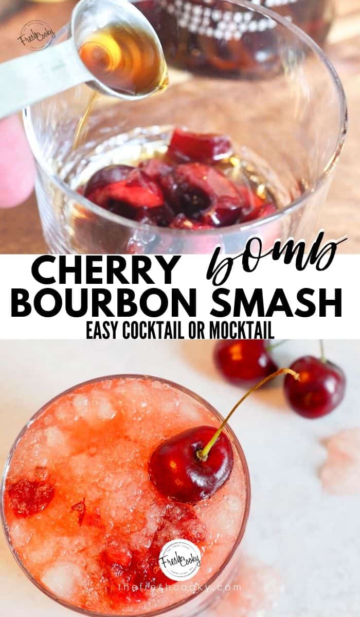 This Cherry Bourbon Smash has so much depth and is so refreshing and delicious. Made with fresh (or frozen) cherries, vanilla, smoky bourbon, maple syrup and fresh lemon juice it's quite simply, the BOMB! Full recipe via @thefreshcooky | #cherry #cherries #bourbon #whisky #whiskey #smash #cocktails #drinks #summer #spring #fall #winter #derbydrinks #mocktail #fathersday #mothersday #drinks #easyrecipes via @thefreshcooky