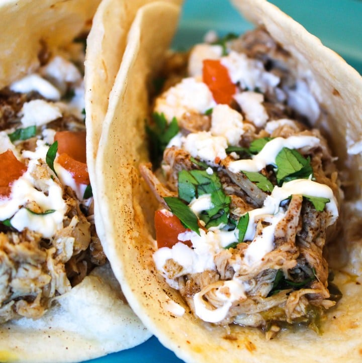 Delicious chicken gyros in tortilla with fresh tomatoes and sour cream.